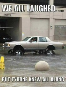 Jacked Up Car in Houston Flood Meme