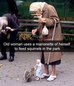 Woman Uses Marionette of Herself to Feed Squirrels