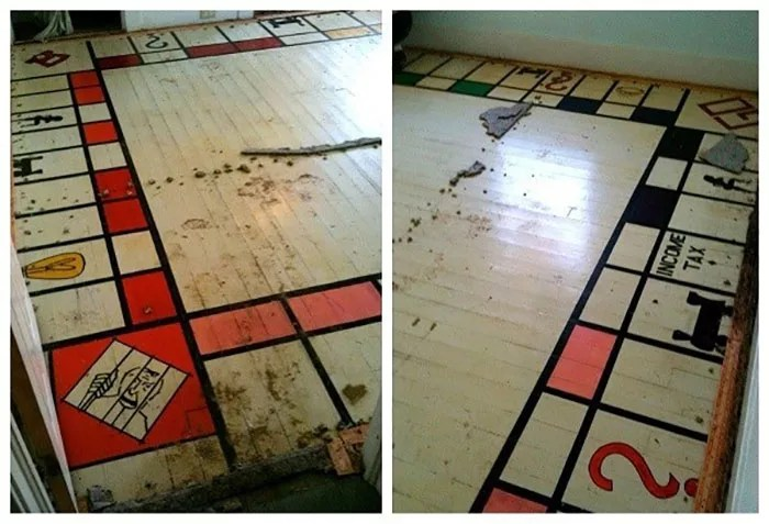 guy pulls up carpet and finds monopoly board