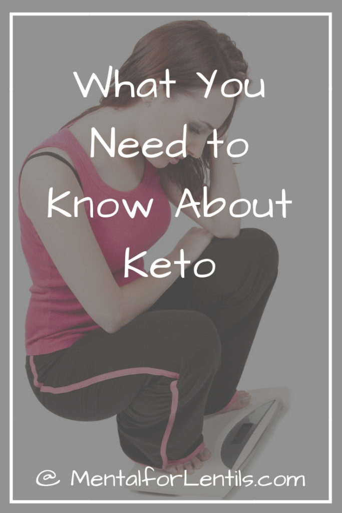 Brunette woman on scale with overlay text - what you need to know about keto