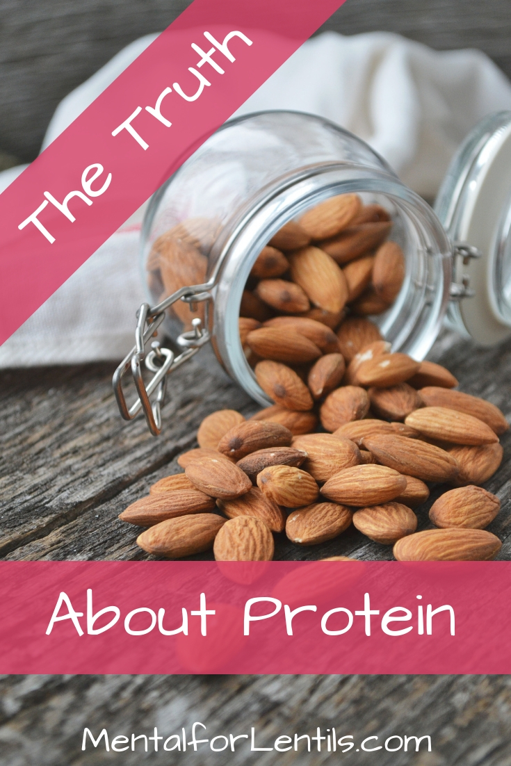 Jar of almonds with text overlay: The Truth About Protein