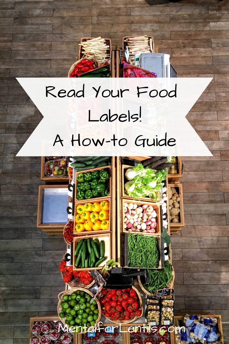 Grocery display with text overlay: Read Your Food Labels! A How-to Guide.