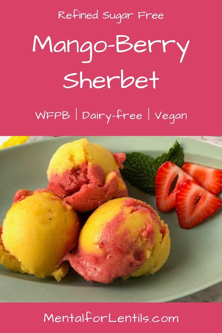 vegan mango-berry sherbet