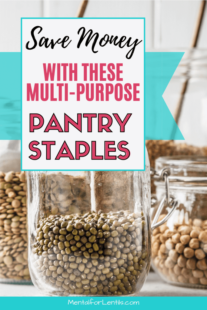 vegan pantry staples pin image