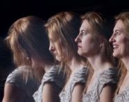 Coloured imaged of a lady - showing four shots in quick succession where she had different facial gestures