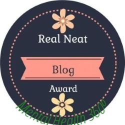 Round black circle with pink flowers and says Real Neat Blog Award