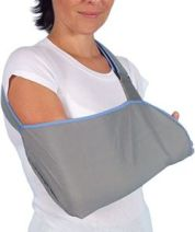 Lady with right arm in a sling