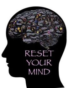 Image of a brain saying reset your mind and develop unconditional self -acceptance