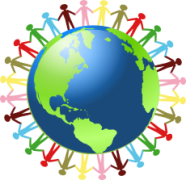 Picture of globe with little people various colours all holding hands around the outside. About Bullies in the workplace around the world