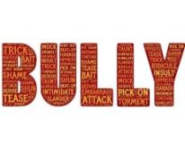 The word Bully. The word Bully is written in red with orange words about bullying