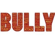 The word BULLY in red with bullying words on it like attack, pick-on and bait - stand up to workplace bullies