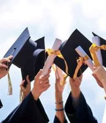 Coloured image of several pairs of hands up in the air, holding uni caps and certificates