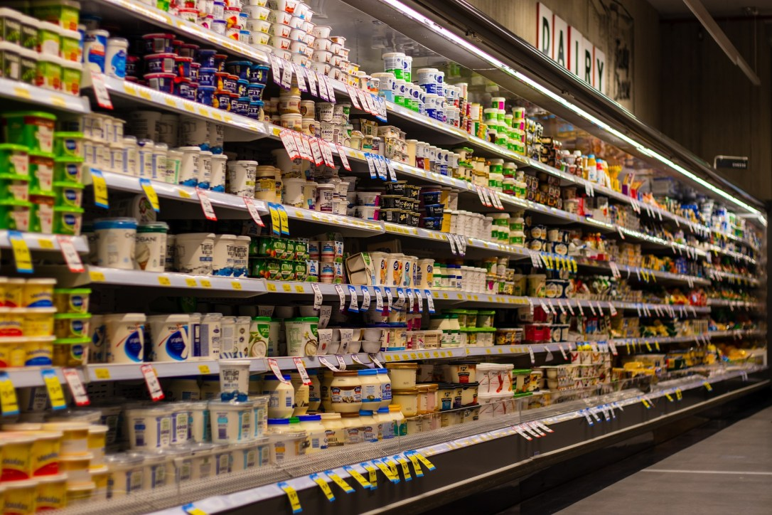 grocery shopping in the dairy aisle