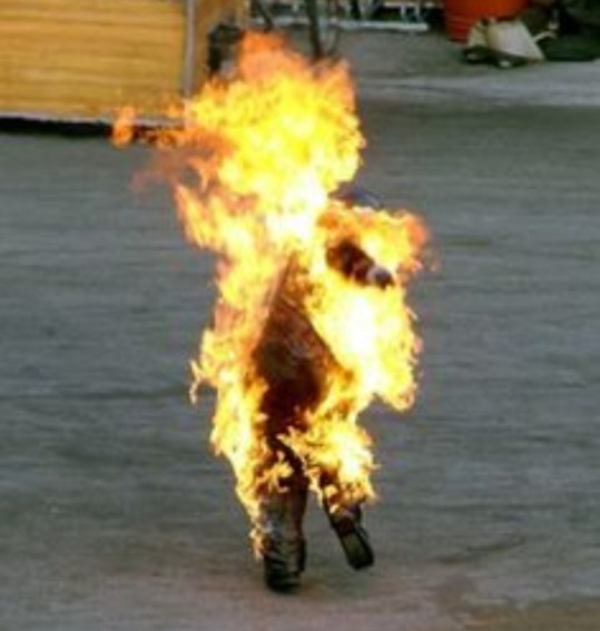 person on fire