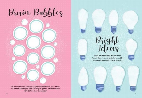 page excerpts from My Life in Lists: Brain Bubbles list and Bright Ideas list