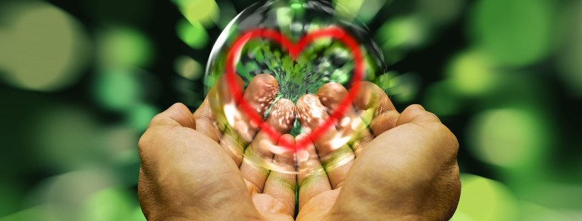 hands holding a bubble with a heart on it