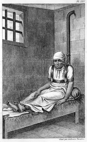 prisoner shackled to his bed in Bedlam Asylum