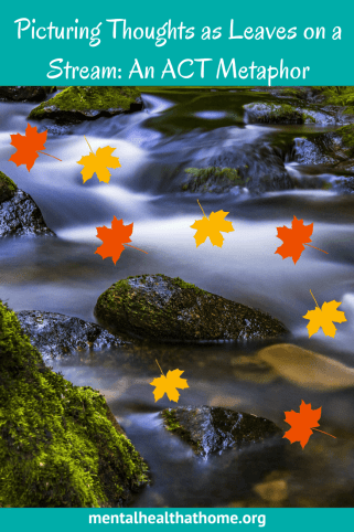 Thoughts as leaves on a stream - leaves representing thoughts superimposed on a picture of a stream