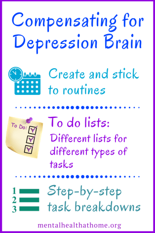 Compensating for depression brain: routines, to-do lists, and step-by-step task breakdowns