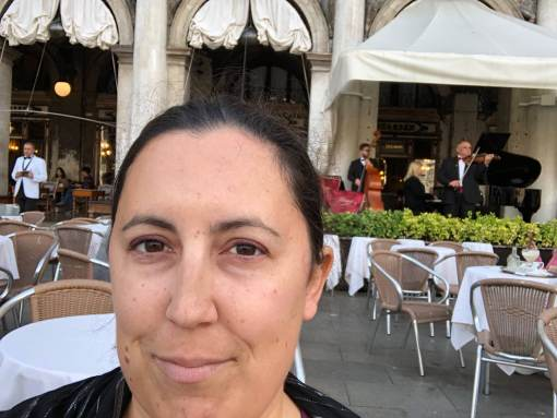 selfie at a cafe in Venice while travelling in Italy
