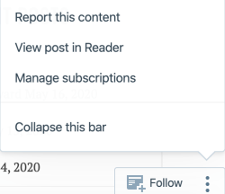Wordpress screenshot: report this content