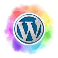 Wordpress logo surrounded by rainbow colours