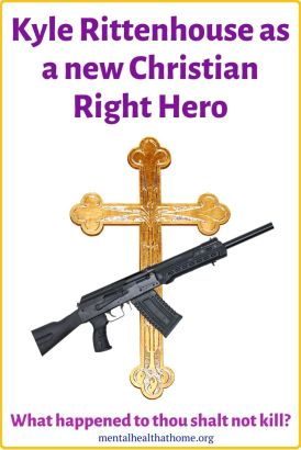 Kyle Rittenhouse as a new Christian right hero - images of a cross and an assault rifle