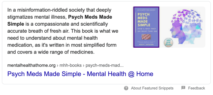 Google featured snippet for Psych Meds Made Simple