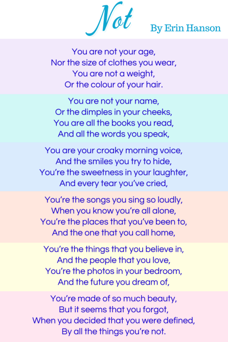 the poem Not by Erin Hanson