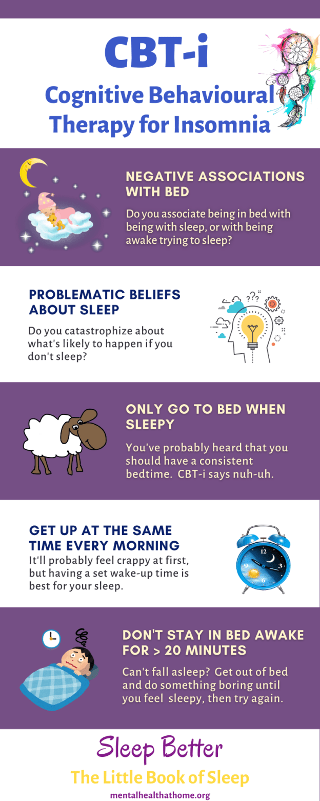 CBT for insomnia infographic from Sleep Better: The Little Book of Sleep
