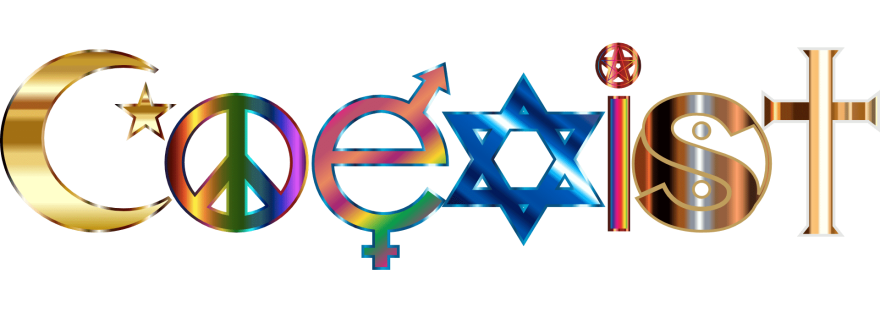 the word coexist written in religious and peace symbols