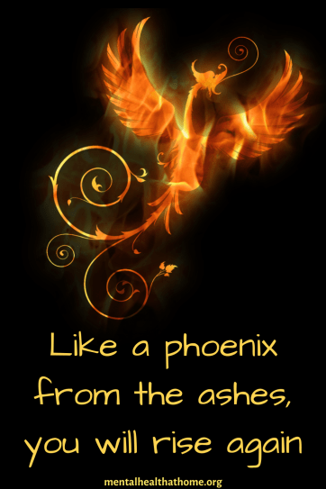 Illustration of a phoenix, with the caption like a phoenix from the ashes, you will rise again