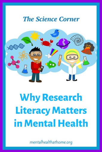 Why research literacy matters in mental health - cartoon showing scientists