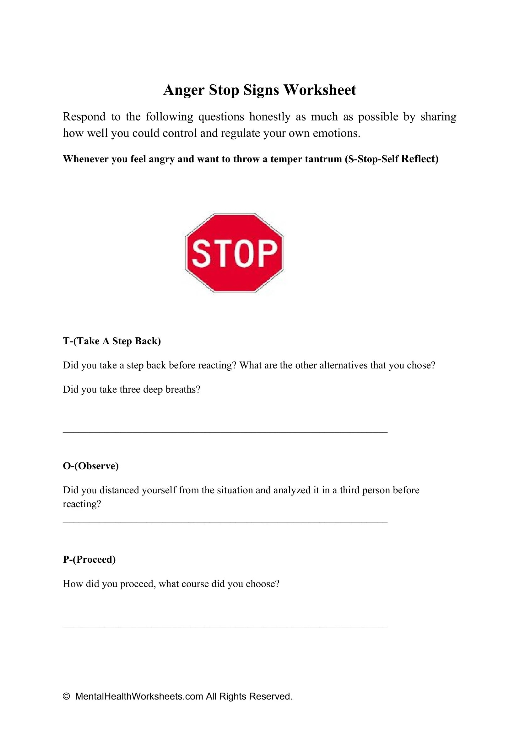 Anger Stop Signs Worksheet