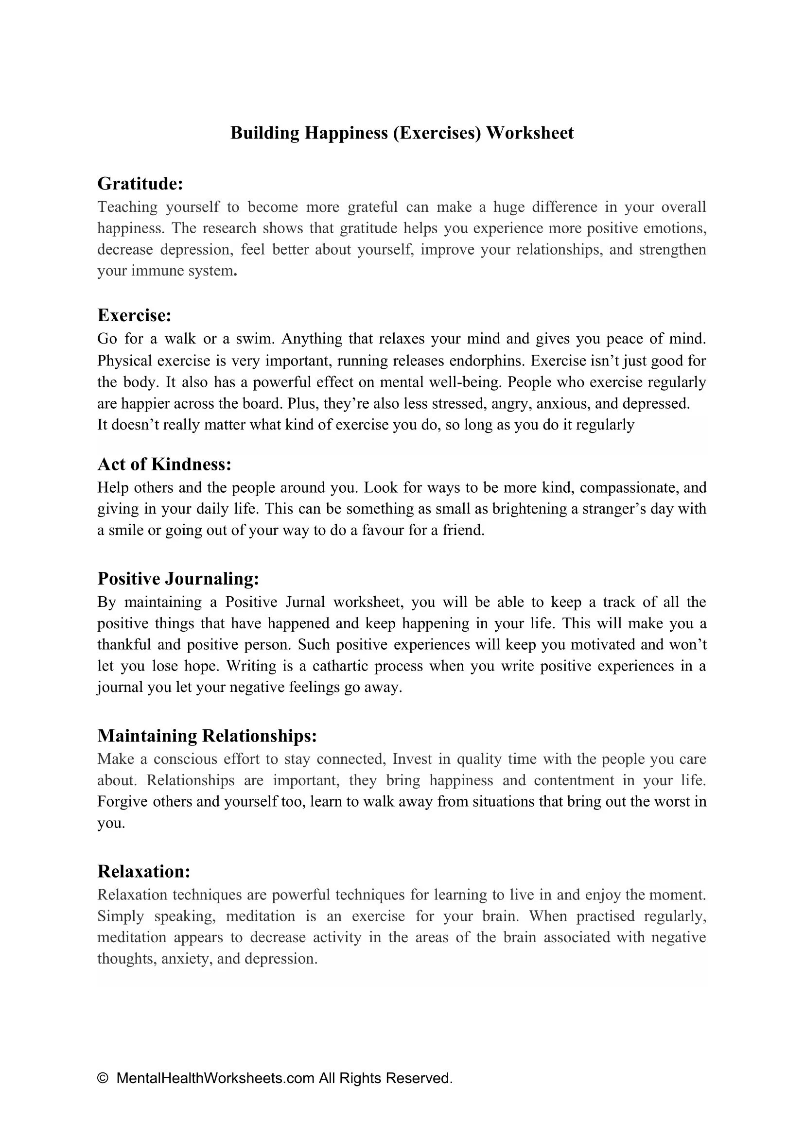 Building Happiness Exercises Worksheet