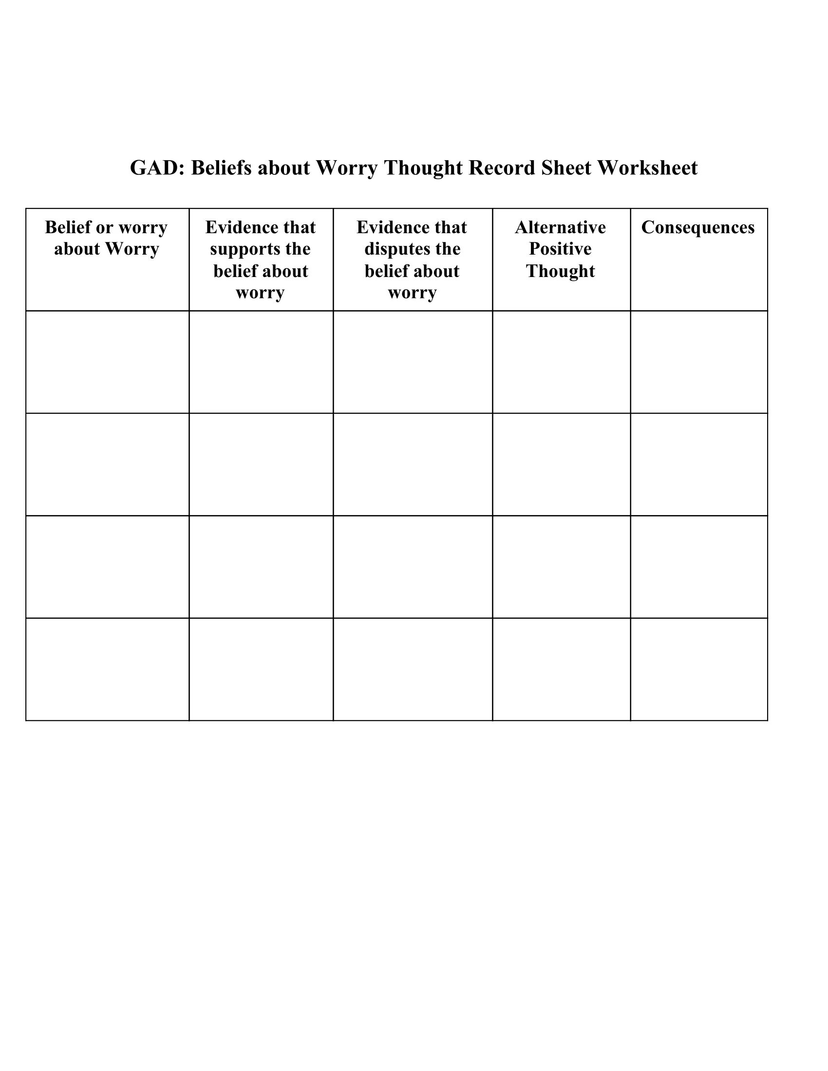 Gad Beliefs About Worry Thought Record Sheet Worksheet