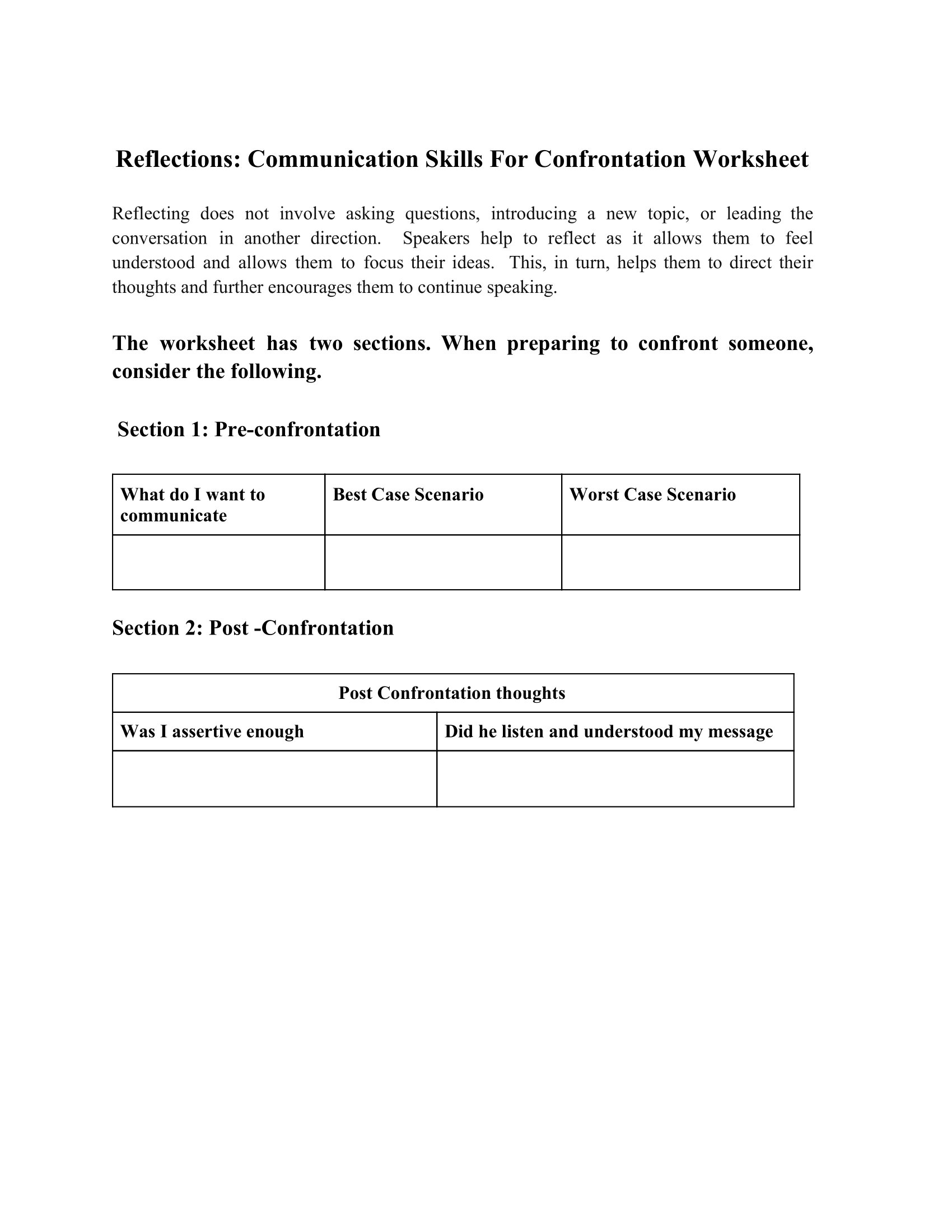Reflections Communication Skills For Confrontation