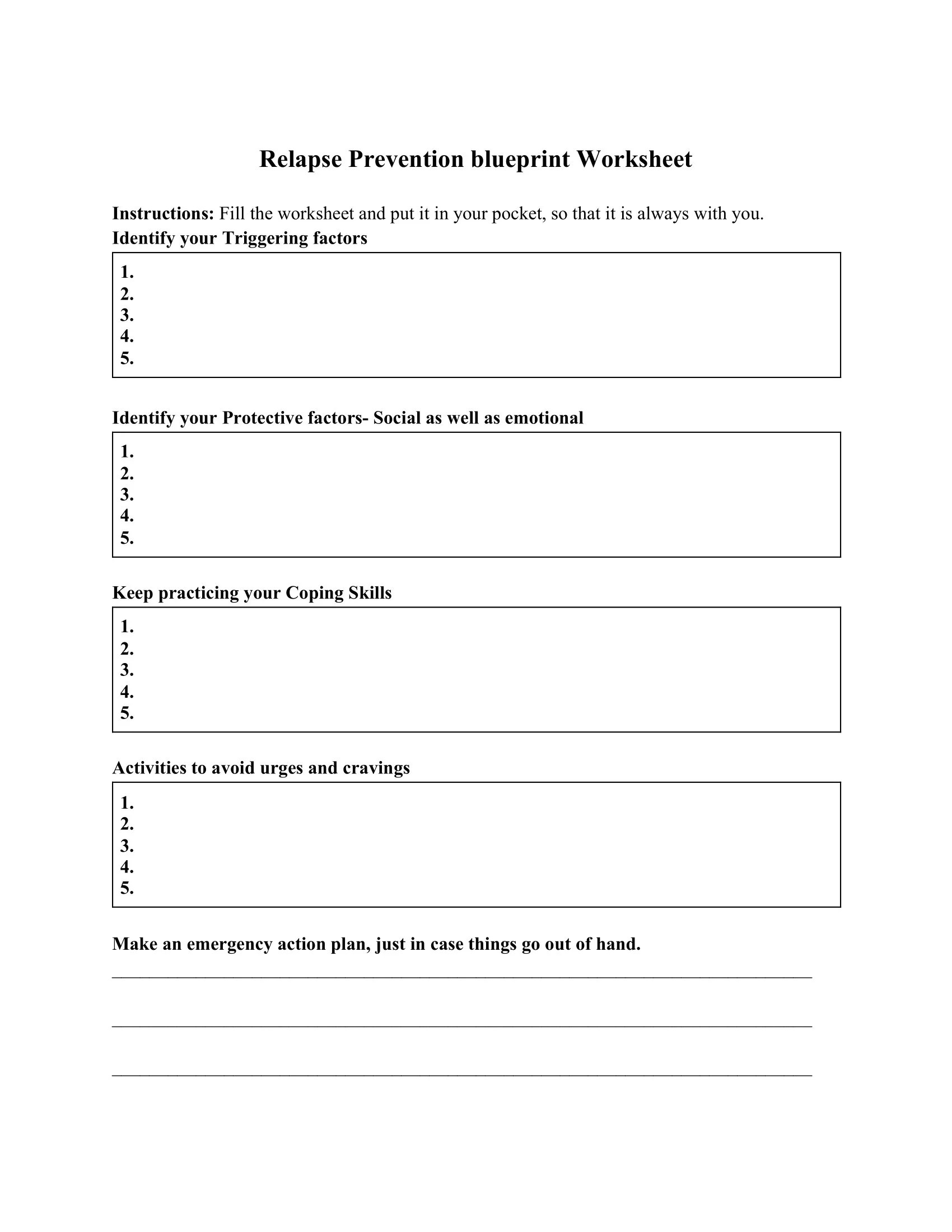 Relapse Prevention Blueprint Worksheet