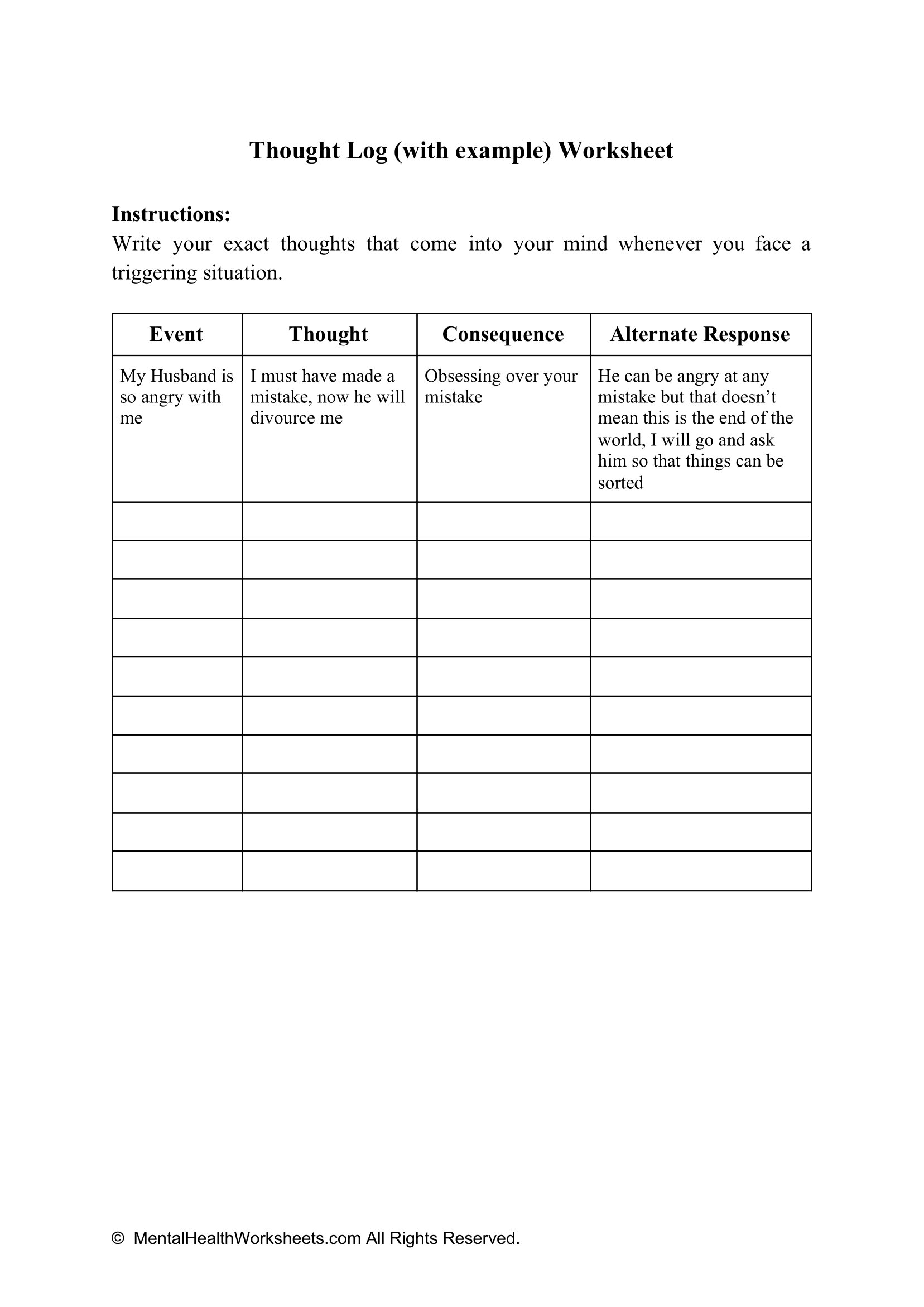 Thought Log With Example Worksheet