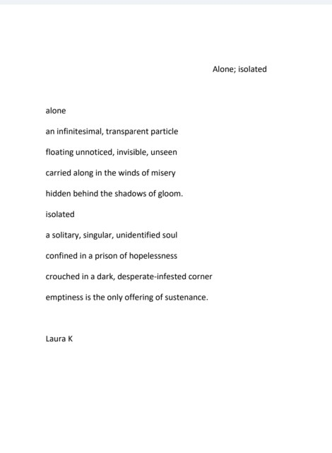 Poem by Laura Konowal (Alone)