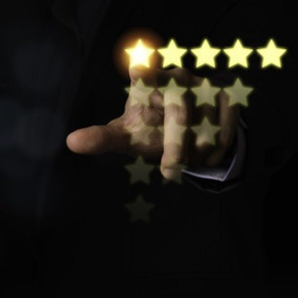 customer hand touching yellow illustration 5 stars virtual screening monitor satisfaction 50039 1501