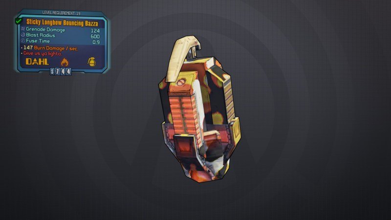 BLTPS Legendary Grenade Mod - Bouncing Bazza