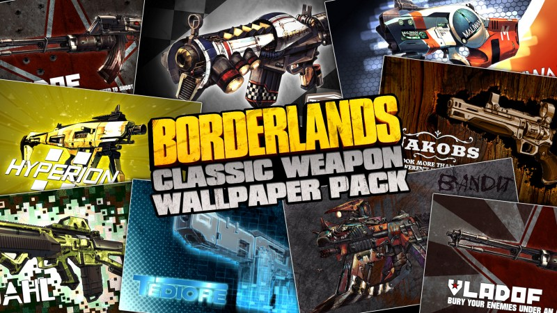 Borderlands Classic Weapon Wallpaper Pack