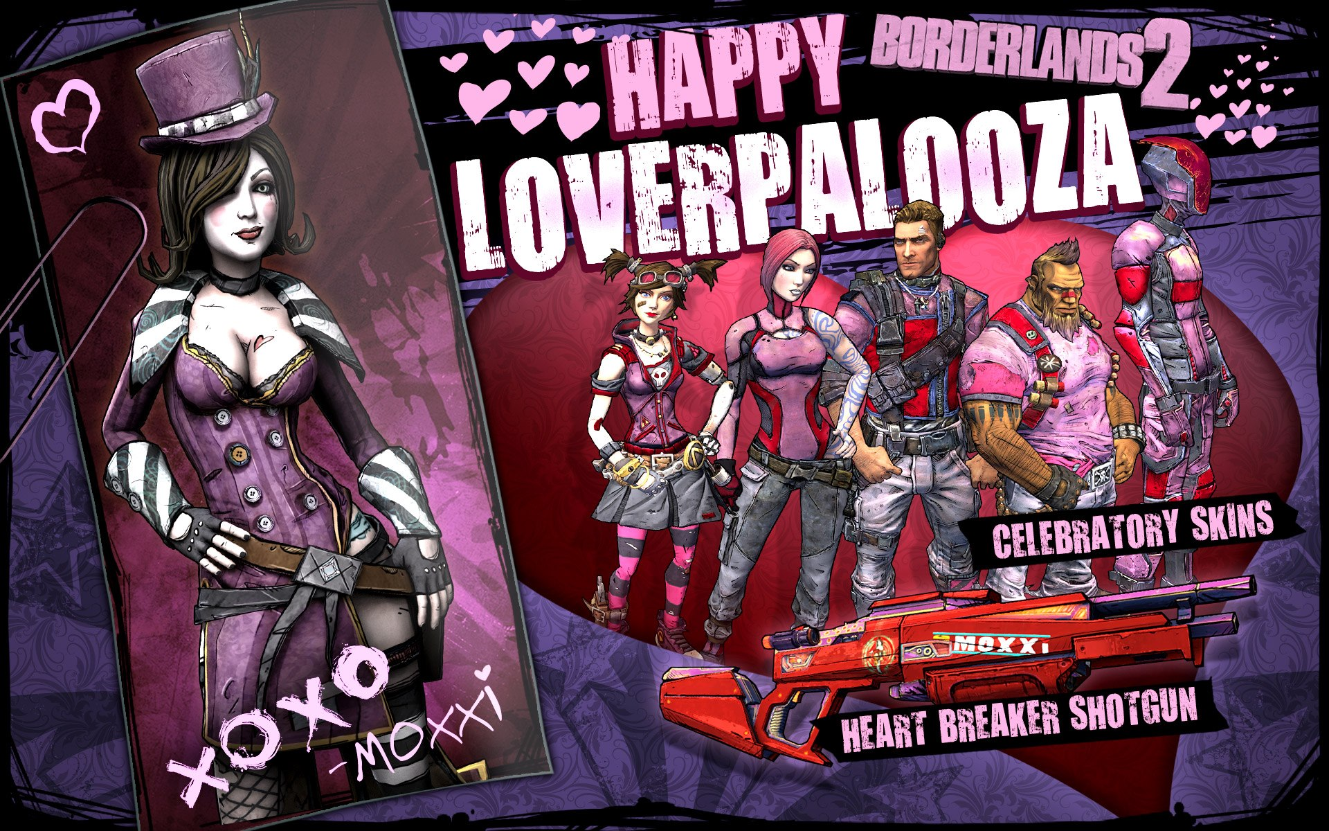 Borderlands 2 SHiFT Codes For Loverpalooza Skins And Heart