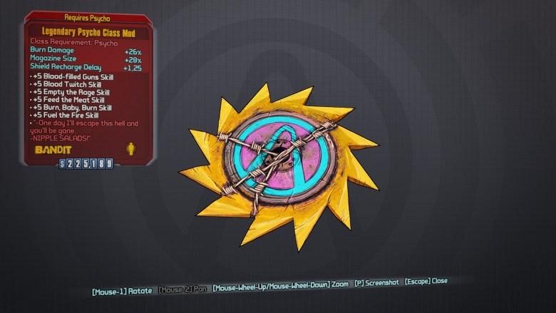 Borderlands 2 Legendary Psycho Class Mod