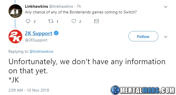 No Info for Borderlands yet by 2K Support