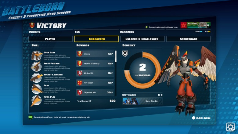 Victory accomplishments screen. It shows your abilities and the rewards you got from your play session.