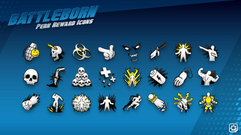 Here is a close up of a bunch of Perk Reward icons. Like, Finisher, Shield Down, Regenerative, Bubble boy, Staggering Blows, and Boom headshot.