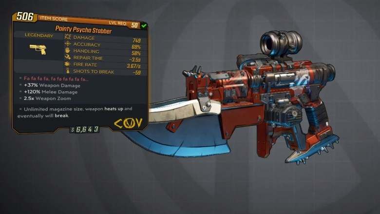 Borderlands 3 Legendary COV Pistol - Psycho Stabber