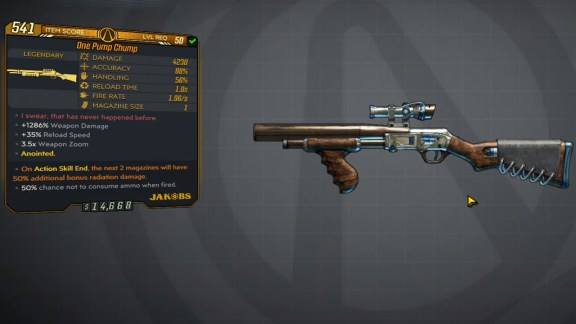 Borderlands 3 Legendary Jakobs Shotgun - One Pump Chump